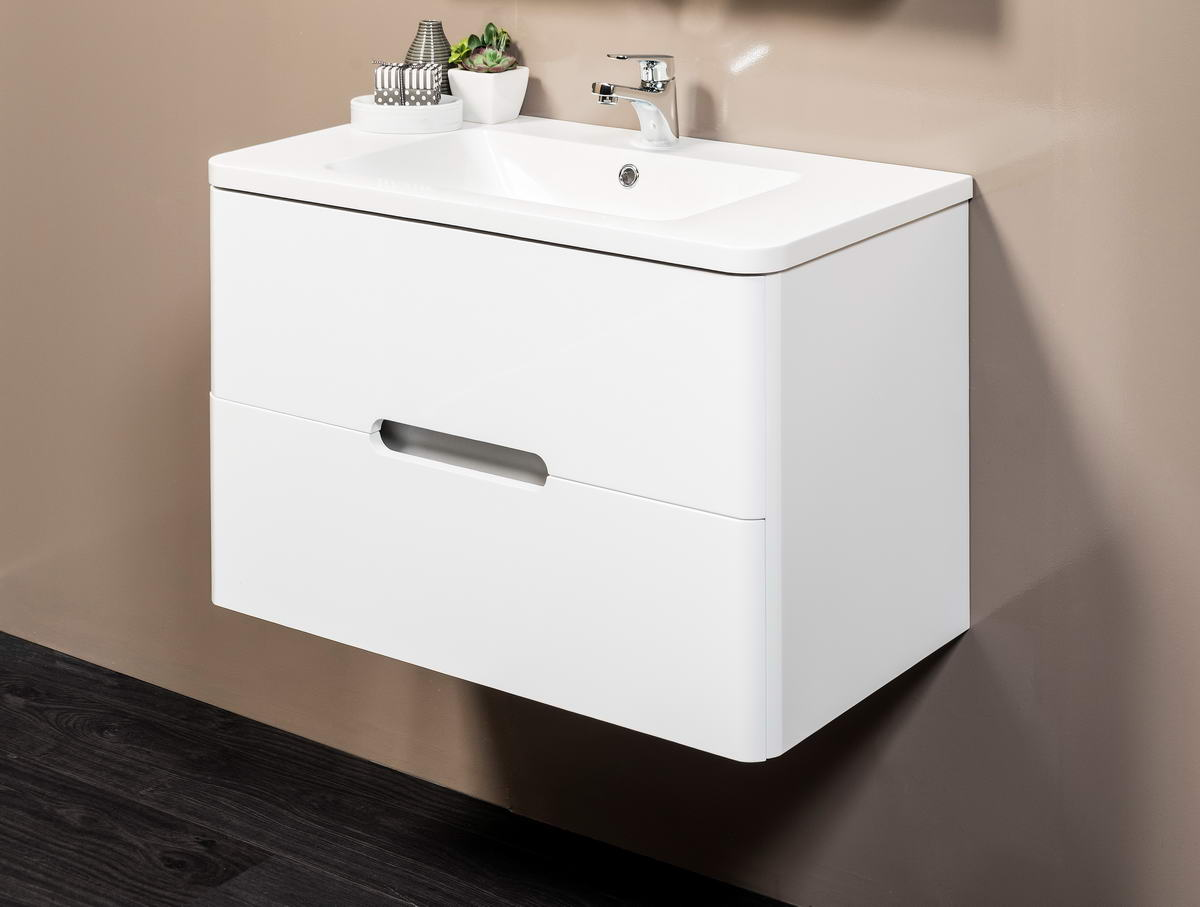 BALMAIN 800 WHITE W/H CABINET WITH  POLY TOP