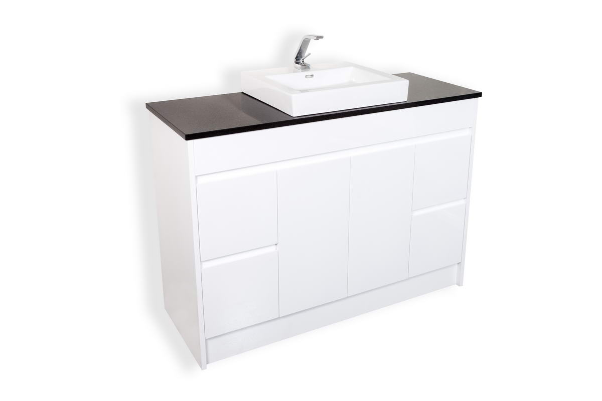 CALCO 1200 FLOOR CABINET WITH MIDNIGHT BLACK STONE AND BACI BASIN