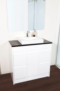 CALCO 900 FLOOR CABINET WITH MIDNIGHT BLACK STONE AND BACI BASIN