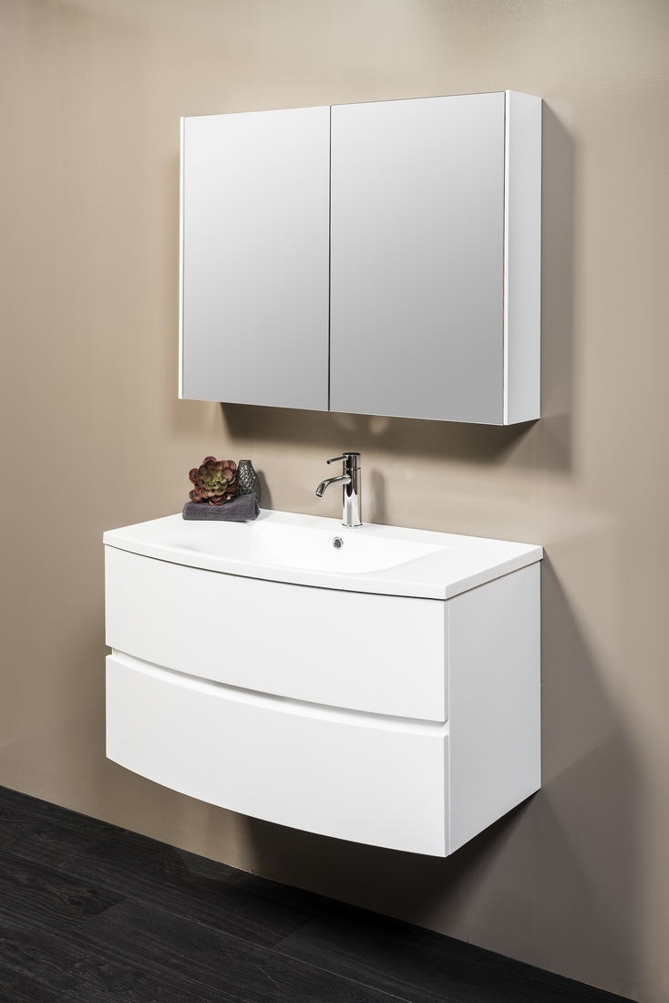 DUNE 900 WHITE W/H CABINET WITHPOLY TOP