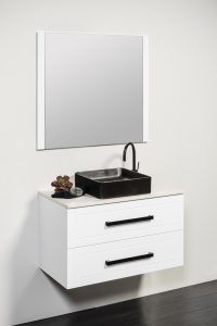 HEIDE 900 WALL HUNG CABINET WITH POLAR STONE & BLACK PIAZZO BASIN