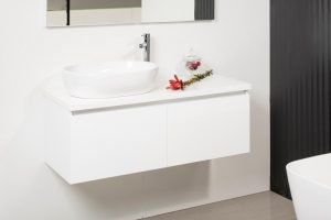 REUBEN 1200 WALL HUNG CABINET WITH FLAT POLYMARBLE TOP AND CUTTEN BASIN