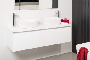 REUBEN 1500 WALL HUNG CABINET WITH FLAT POLYMARBLE TOP AND BEC48 BASINS