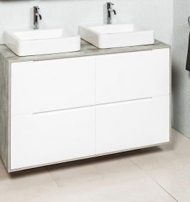 RADLEY+ 1500M73 FLOOR/WALL HUNG CABINET  & ETRO DOUBLE BOWL TOP