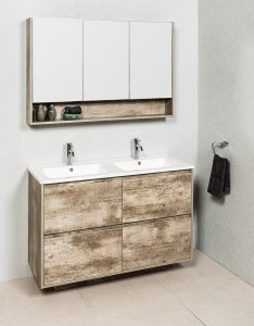 ZENA 1200M73 FLOOR/WALL HUNG CABINET & LECCO PLUS DOUBLE BOWL