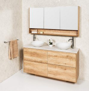 ZENA 1500M18 FLOOR/WALL HUNG CABINET WITH POLAR STONE & COOPER  BASINS