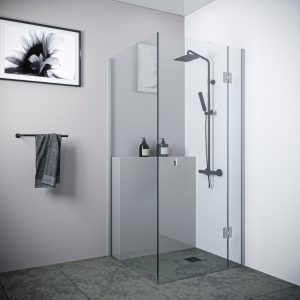 Multi Size FRONT AND RETURN Frameless Shower Screen 10mm Toughened Glass