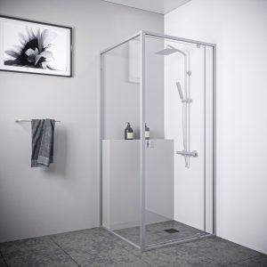 Multi Size FRONT AND RETURN Semi-Frameless Shower Screen 6mm Toughened Glass