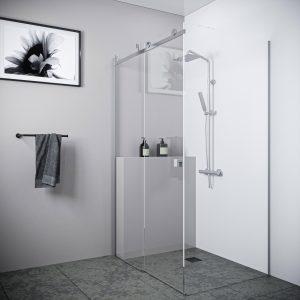 Multi Size FRONT AND RETURN SLIDING Frameless Shower Screen 10mm Toughened Glass